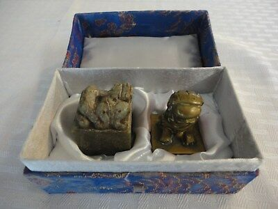 Vintage Chinese Shishi (lion/foo dog) Chop---Stone/Brass Seal Set---Estate Sale
