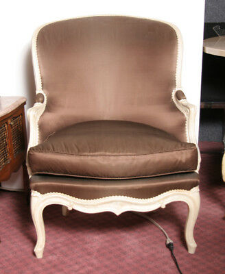 Pair of French Bergere Armchairs, Painted Wood with Brown Upholstery