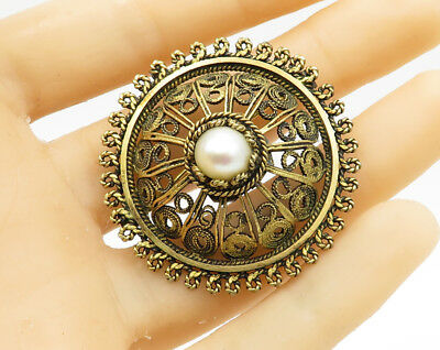 ISRAEL 18K Gold & 925 Sterling Silver - Pearl Accent Brooch Pin Pendant - BP1233