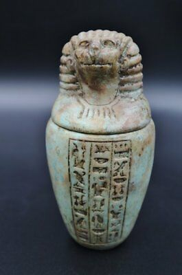 Fine Antique Egyptian Faience Hapy Canopic Jar (Organs Storage Statue) LARGE