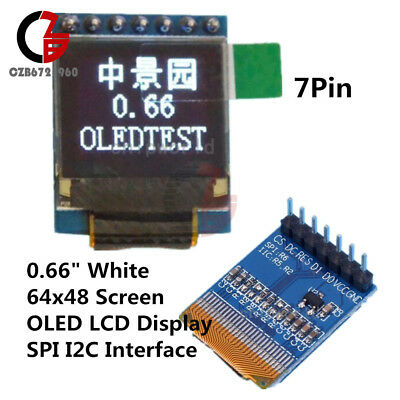 0 66″ OLED DISPLAY Module 7Pin 64x48 Screen SPI I2C 3 3~5V for Arduino AVR  STM32