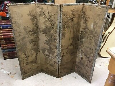 Antique 4 Part Small Folding Screen Victorian Tapestry Canvas Decoration