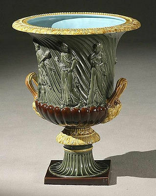 Large Sarreguemines French Faience Majolica Neoclassical Urn Jardiniere Planter