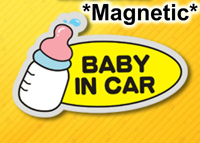 *US SELLER* MAGNETIC Reflective Baby on Board in Car Safety Sticker Sign Bottle