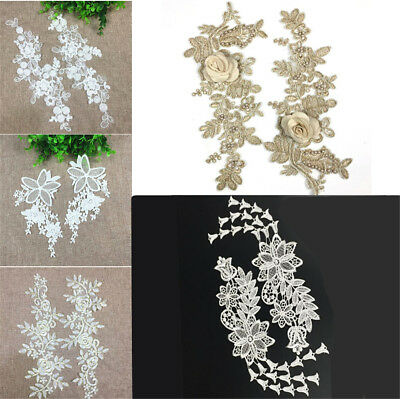 1 Pair Embroidery DIY Lace Applique Sewing Wedding Dress Trim Craft Patch Decor