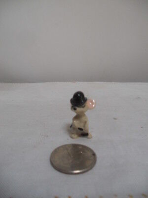 Very Tiny Porcelain Mouse Figurine With Black Derby Hat On