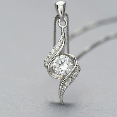 1/2CT(5mm) Round Diamond Solitaire Pendant Necklace 18K White Gold Over Silver