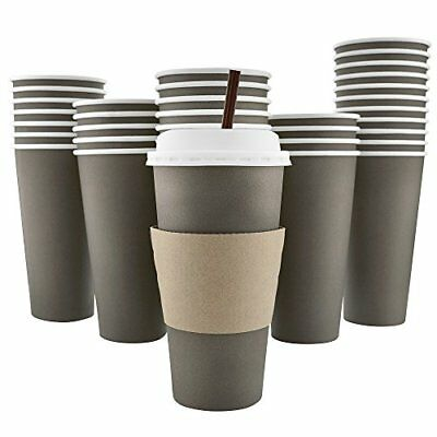 100 Pack - 20 Oz 8 12 16 Disposable Hot Paper Coffee Cups Lids Sleeves Stirri...