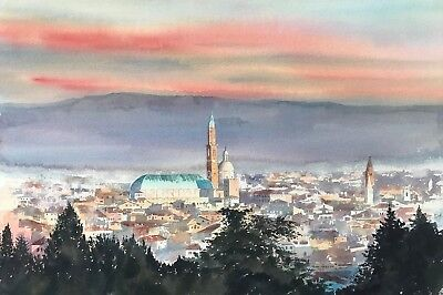 "NEW ORIGINAL ALAN REED ""Vicenza Dawn, Italy"" Veneto Landscape Church PAINTING"