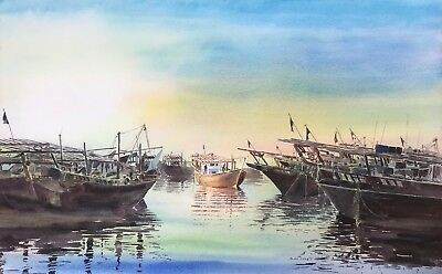 "NEW ORIGINAL ALAN REED ""Dhows, Coming Home"" Arabic Maritime Sailing PAINTING"