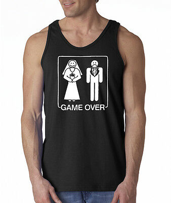 Game Over Wedding Marriage Bride Groom Funny Bachelor Party Tank Top S-2XL