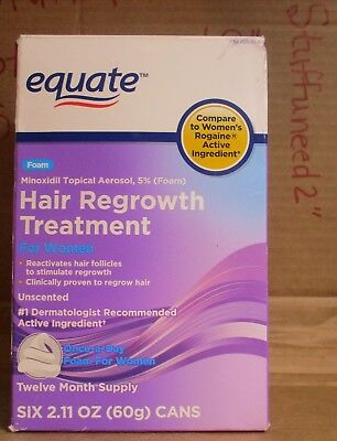 Equate hair regrowth treatment for women minoxidil topical foam LG SIZE OPEN BOX