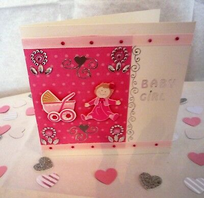 BEAUTIFUL NEW BORN BABY GIRL Handmade Card By Second Nature