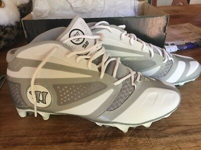 Warrior Burn 7.0 Low Lacrosse Cleats White Gray & Silver Size 11 NEW IN BOX!