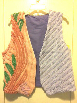 Lovely Handmade Vintage Chenille Lined Vest Floral Lavender/Peach New Small