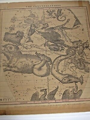Antique1856 Burritt Huntington Map of Constellations  October November December