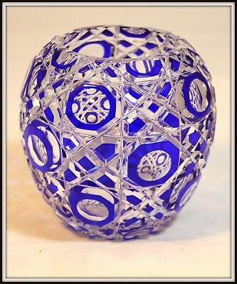 """Splendid Cobalt Cut to Clear Czechoslovakian Crystal Vase""  Octagonal Pattern"