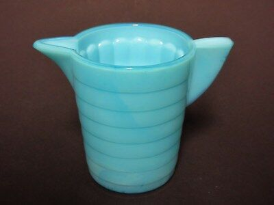 Rare Turquoise Akro Agate Stacked Disc & Interior Panel Child's Water Pitcher
