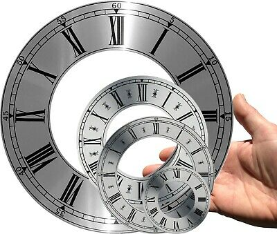 Clock dial, chapter ring, brushed silver, OD 207 - 70mm