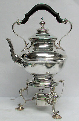 CLASSIC 1930's STERLING SILVER SHREVE CRUMP LOW WATER KETTLE ON STAND & BURNER