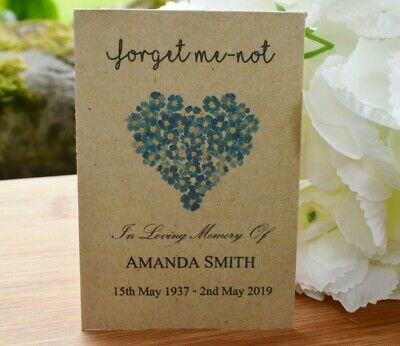 100 Funeral Favour Personalised Seed Packets Memorial|Forget Me-not (with seeds)