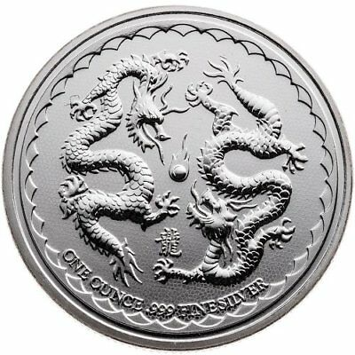 2018 Niue Double Dragon 1 oz .999 Silver BU Coin From The New Zealand Mint