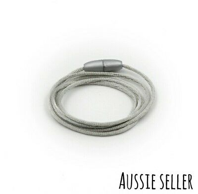 Silver Grey Satin Cord Breakaway Safety Clasp Beads Lanyard Necklace Teething