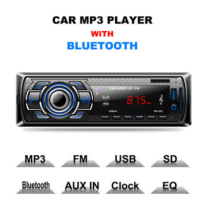 Excelvan Car Radio MP3 Player Bluetooth FM USB/SD Card Reader DC 12V LED Screen