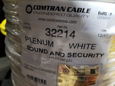 ComTran Cable 32214 14/2C Stranded Shielded Plenum Alarm/Comm Cable White/100ft