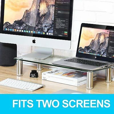 FITUEYES Tempered Glass Computer Monitor Riser PC IMAC TV Screen Stand