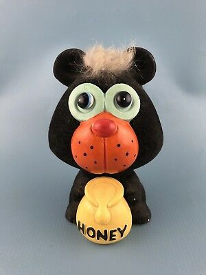Mid Century BEAR WITH HONEY POT Coin Bank Flocked 1960's or 1970's Vintage