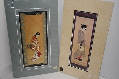 ASIAN ORIENTAL Wall Picture Artwork Lady Lot of 2 $60 NEW