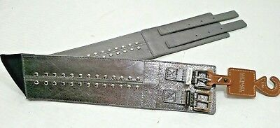 NWT $68 MICHAEL KORS MK LOGO STRETCH PANEL WIDE Pewter LEATHER BELT Womens S/M