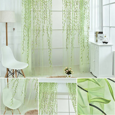 US Room Willo w Pattern Voile Window Curtain Sheer Panel Drapes Scarfs Curtain