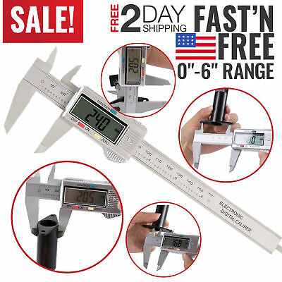 "150mm/6"" LCD Digital Electronic Gauge Stainless Steel Vernier Caliper Ruler US"