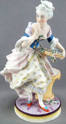 Letu & Mauger Large Hand Painted French Bisque Colonial Lady Figurine 1860 - 70s