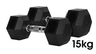 Nature Fitness 15kg  Rubber Hex Dumbbell / Dumbells Rubber Coat, Sold in Pair