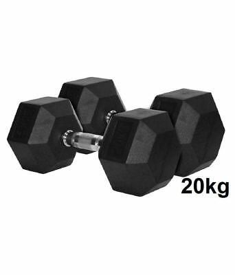 Nature Fitness 20kg  Rubber Hex Dumbbell / Dumbells Rubber Coat, Sold in Pair