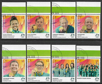 AUSTRALIA 2016 RIO OLYMPIC GAMES GOLD MEDAL WINNERS Complete Set of 8 USED/CTO