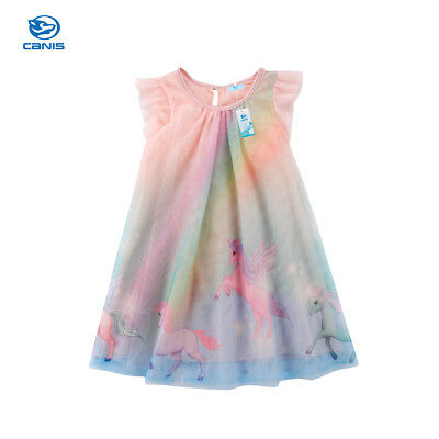 Canis Unicorn Baby Girl Dress Tulle Party Bridesmaid Fancy Dress Sundress USA
