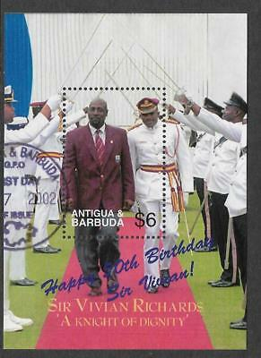 ANTIGUA 2002 SIR VIVIAN RICHARDS 50th Birthday CRICKET Sheet No 2 FINE USED