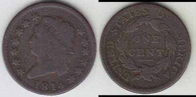 Just Reduced!! 1814 Large Cent Crosslet 4 Vg