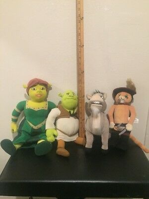 Ultra Rare - Plush Shrek Fiona Princess  Ogre Donkey Puss Nanco Doll Lot- 2004