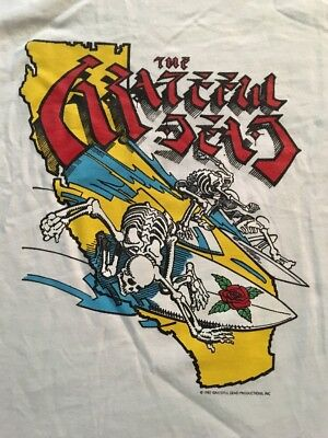 Grateful Dead Vintage Tour T-Shirt Rick Griffin 1987 Surfing Skeletons XXL NOS