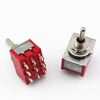 2Pcs 3PDT Mini Toggle Switch ON-ON 9 Pin Red Latching MTS-302