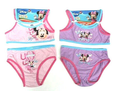 Set Intimo Top + Slip Lilla Completo Disney Minnie 6-8 Anni