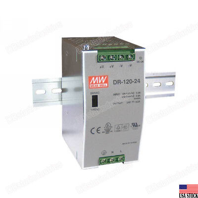 MEAN WELL DR-120-24 120W Certified LED DIN RAIL Power Supply AC/DC 24V 5A USA