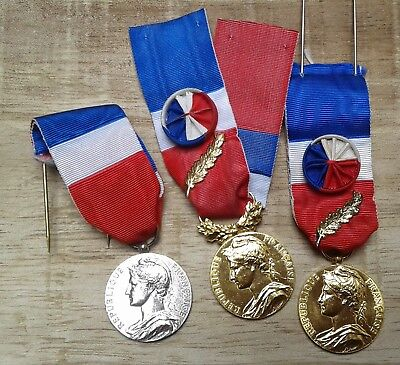 lot medailles d'honneur du travail 1994 2004 2009 french labour work medal honor