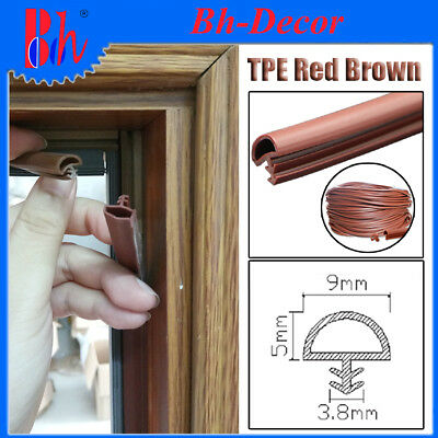 Extruded TPE Rubber Sealing Strip Door Frame Seal Weather Stripping Red Brown B9