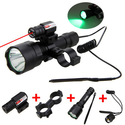 Tactical 5000LM T6 LED Torch Green & Red Dot Laser Sight Hunting Flashlight Lamp